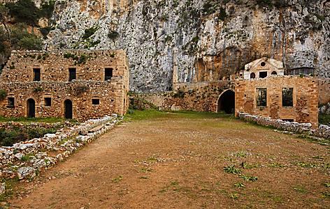 The ruins of the Katholiko Monastery in Crete