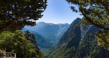 View of the Samaria Gorge in Chania, Crete