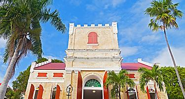 Front of the Old Lutheran Church during a clear sky sunny day in Charlotte Amalie St. Thomas