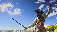 Statue of Blackbeard fighting with a sword, Charlotte Amalie St. Thomas