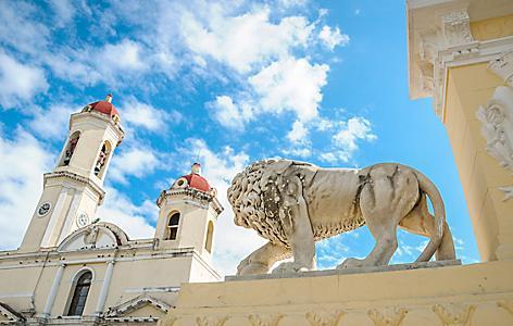 cienfuegos cuba colonial architecture lion