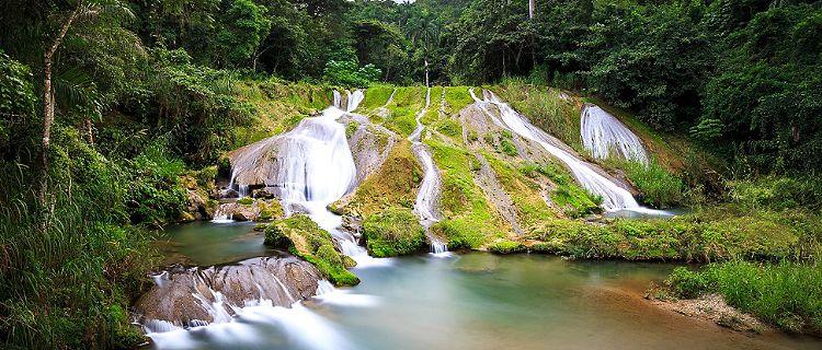 View of El Nicho waterfall in Cienfuegos, Cuba
