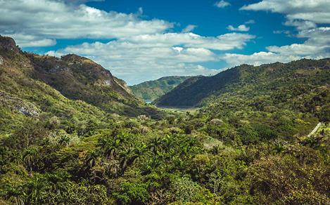 View of beautiful mountains and landscape in Cienfuegos, Cuba
