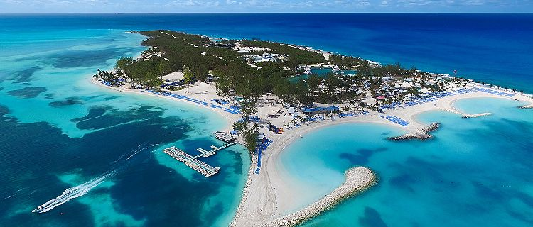 Aerial view of our private destination, Coco Cay Island