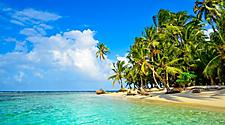 Tropical paradise of sandy beaches with clear blue water in Panama