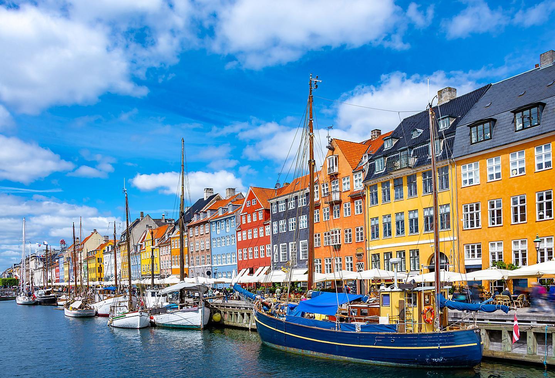 Denmark Copenhagan Nyhavn Harbor Traditional Local Homes
