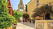 View of monastery in Palaiokastritsa, a town in Corfu, Greece