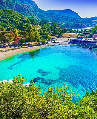 Paleokastritsa Beach in Corfu, Greece