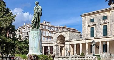 Statue of general Frederick Adam, in front of the Museum of Asian Art in Corfu, Greece
