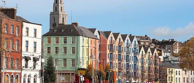 Multicolored buildings in Cork, Ireland