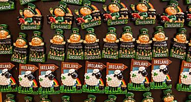 Various souvenir Irish magnets