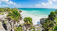 Panoramic view of the God of Wind Temple Ruins in Tulum close to Cozumel, Mexico