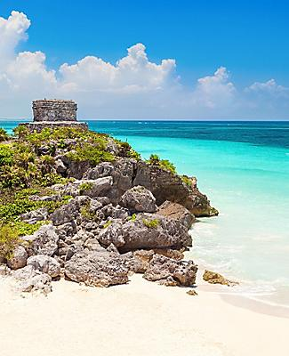 God of Wind temple ruins at the beach in Tulum, Cozumel, Mexico