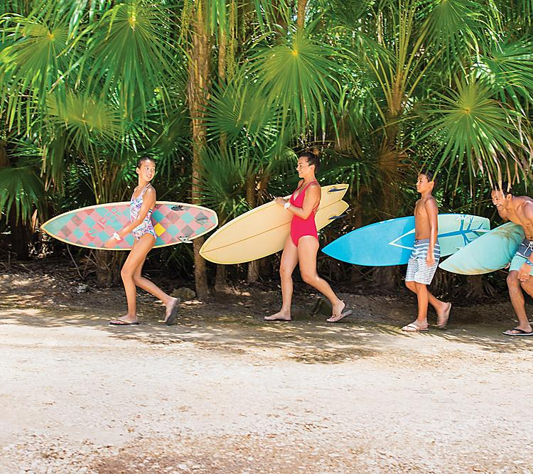 Mexico Cozumel Family Going Surfing