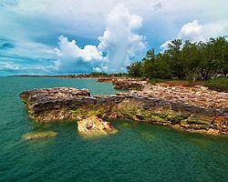 A rocky coastline in Darwin, Australia