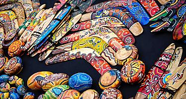 An assortment of different boomerang souvenirs in Australia