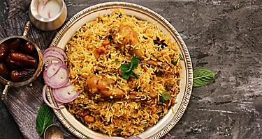 Chicken Kabsa, homemade Arabian biryani, spicy rice with chicken in Doha, Qatar
