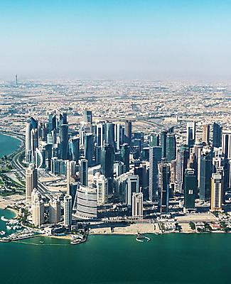 Aerial view of the densely packed skyscrapers in Doha, Qatar