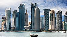The skyline of the many skyscrapers on the bay of Doha, Qatar
