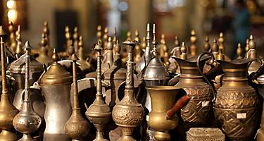 Arabic brass souvenirs for sale in Doha, Qatar
