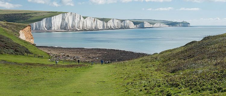View of the white cliffs of Dover at the Seven Sisters National Park