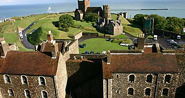 Aerial view of Dover Castle in Dover, England