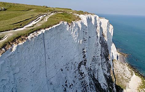 Aerial view of the white cliffs of Dover, England