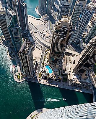 Dubai's futuristic skyscrapers from above