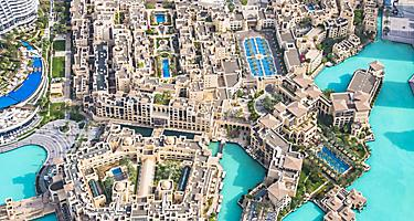 Aerial views of the city of Dubai from the top of the Burj Khalifa skyscraper