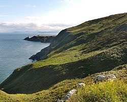 Howth Head in the distance in Dublin, Ireland