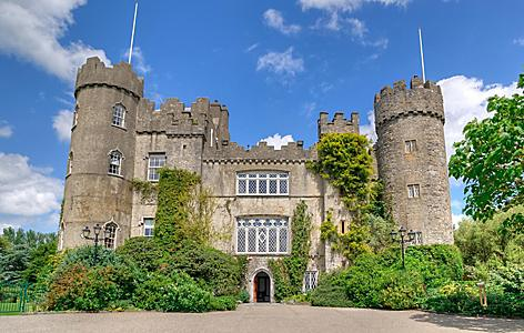 Frontal view of the Malahide Castle in Dublin, Ireland
