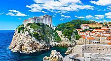 Adriatic idyllic scenery at coastal town Dubrovnik, Croatia