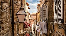 Famous narrow alley of old town Dubrovnik, Croatia