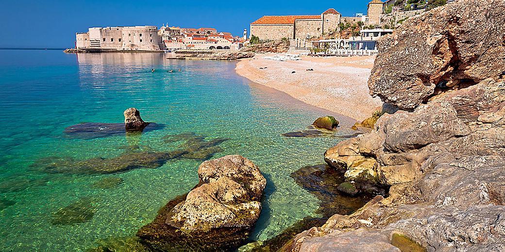 Croatia Dubrovnik Banje Beach Historic Buildings