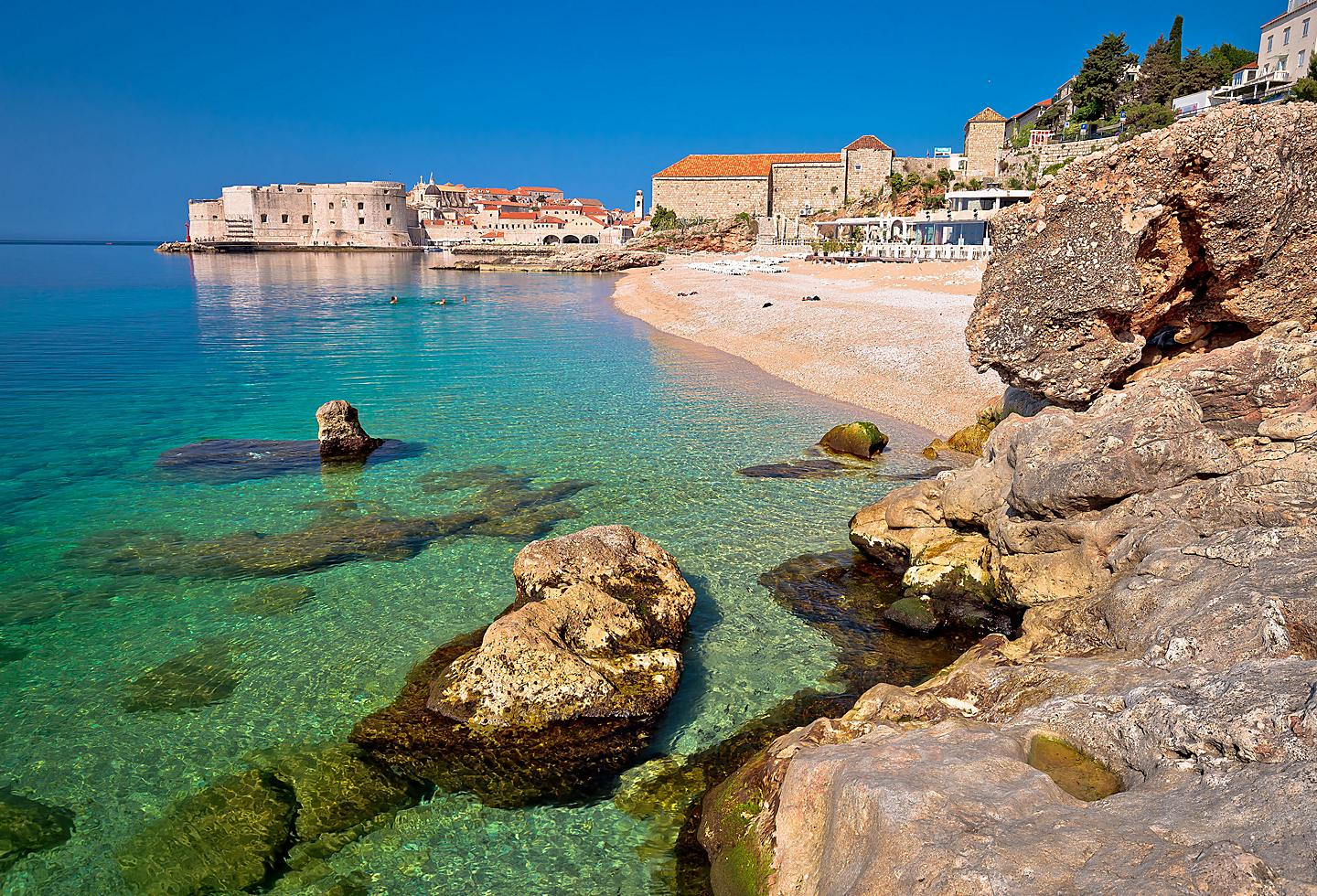 Croatia Dubrovnik Banje Beach Historic Buildings