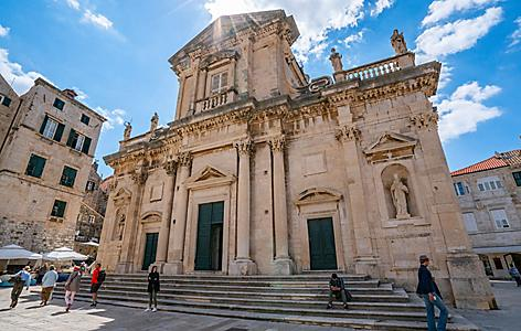 Croatia Dubrovnik Cathedral Cathedral Tourist Sunny Day