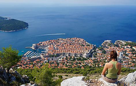 Croatia Dubrovnik Woman Cliff