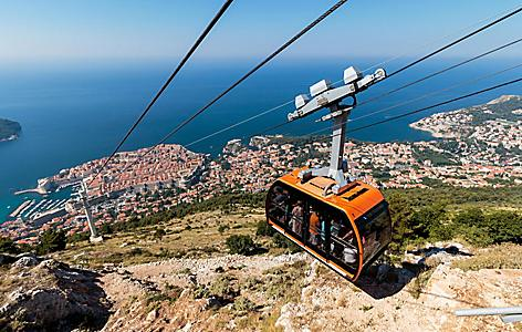 Cable Car from the old town to the top of Mount Srd in Dubrovnik, Croatia