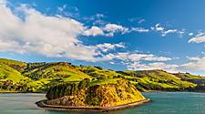 The coastal landscape in Dunedin, New Zealand