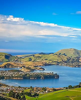 View of the bay as seen from the hills above Dunedin, New Zealand