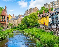 A river running through scenic Dean Village in Edinburgh, Scotland