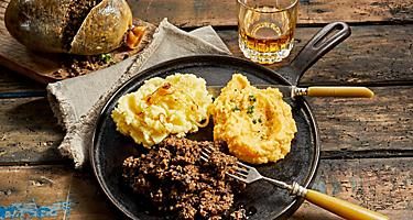 A plate of haggis, neeps and tatties in Scotland
