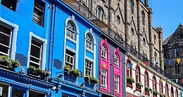 Colorful buildings lining Victoria Street in Edinburgh, Scotland
