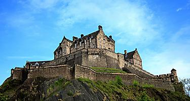 A close up view of the Edinburgh Castle in Scotland