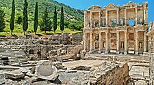 The ruins of the ancient Celsus Library in Ephesus, Turkey