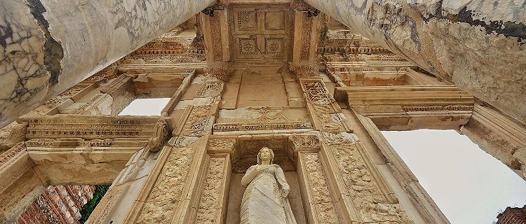 Close up view of the Celsus Library pillars in Ephesus, Turkey