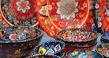 An assortment of colorful pottery in Turkey