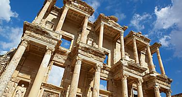 A close up view of the Library of Celsus in Ephesus, Turkey