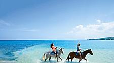 Horseback riding in the clear water of the beach in Falmouth, Jamaica