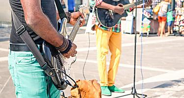 Live musicians playing reggae on the streets of Falmouth, Jamaica